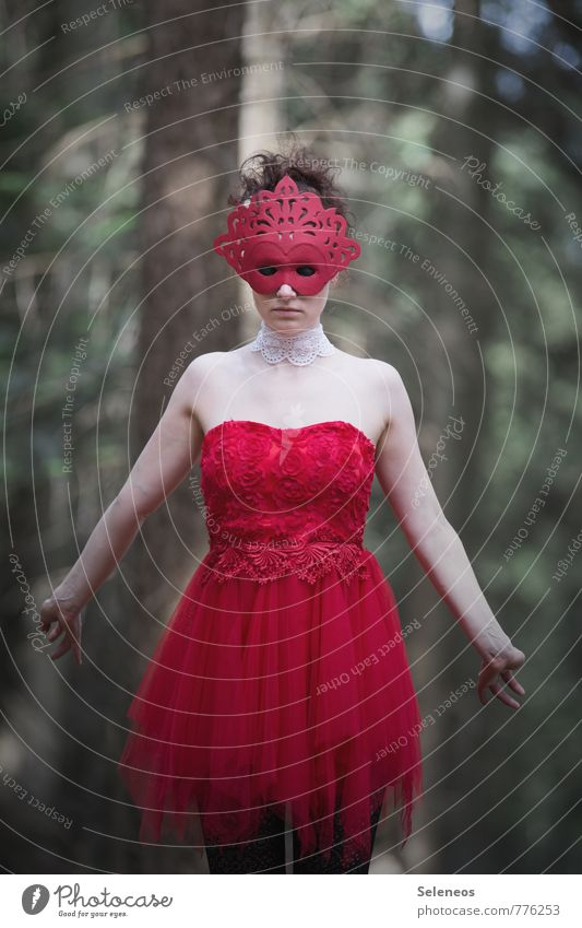 Blushed Carnival Human being Feminine Woman Adults 1 Forest Dress Mask Red Mystic Tulle Colour photo Exterior shot Upper body Front view