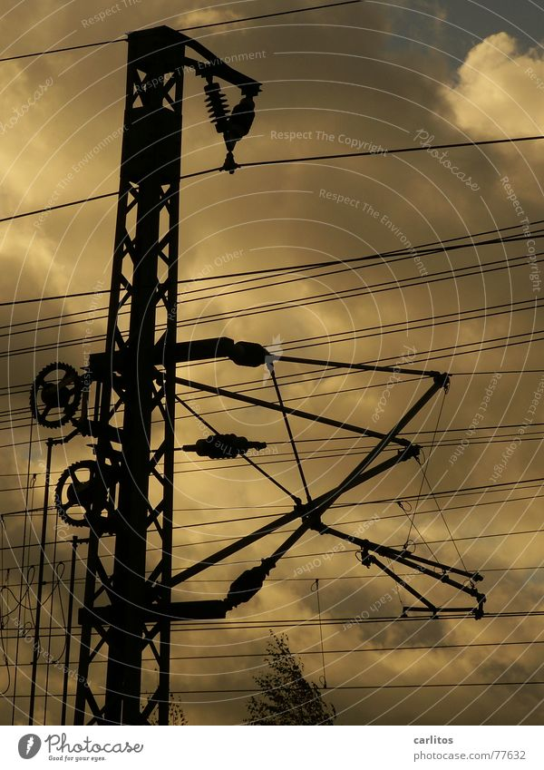 Sun Dark Railroad Industry Energy industry Electricity Train station Weight Electricity pylon Chaos Column Muddled Transmission lines