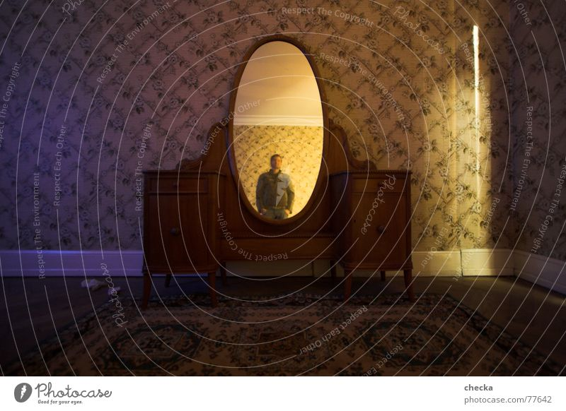 Mirror, mirror on the wall Living or residing Flat (apartment) Wallpaper Living room Old Emotions Moody Self-confident Sadness Concern Grief Fear Distress