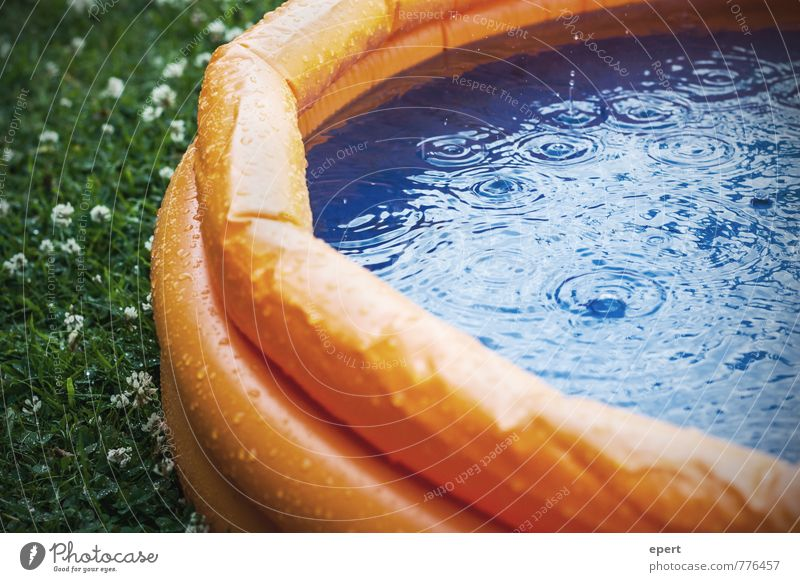 Opening of the outdoor swimming pool season Swimming & Bathing Leisure and hobbies Playing Water Drops of water Bad weather Rain Paddling pool Wet Anticipation