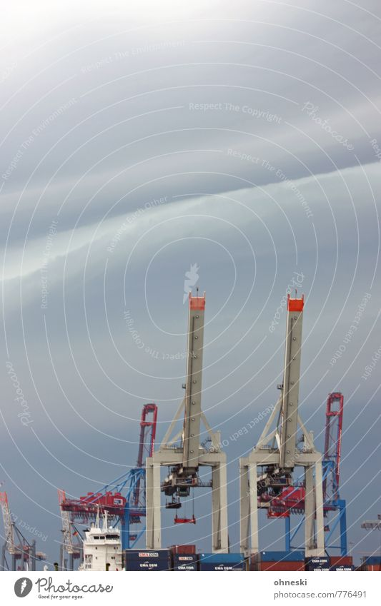Weather Crane Industry Storm clouds Climate Climate change Bad weather Thunder and lightning Port of Hamburg Harbour Navigation Container Logistics Economy