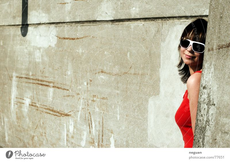 Woman Human being Red Summer Style Happy Hair and hairstyles Warmth Stone Building Line Bright Free Corner Eyeglasses
