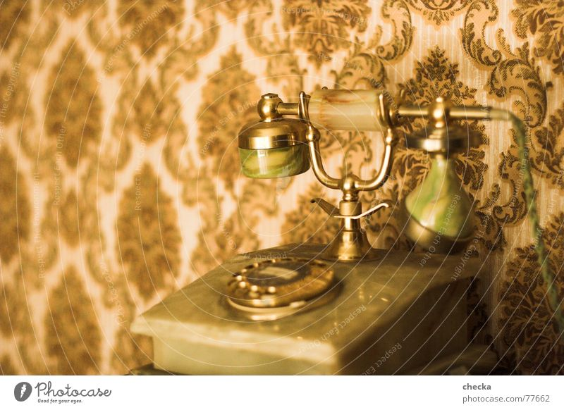Old Gold Telecommunications Telephone Past Wallpaper To call someone (telephone) Select Old fashioned Receiver Wallpaper pattern Rotary dial The thirties