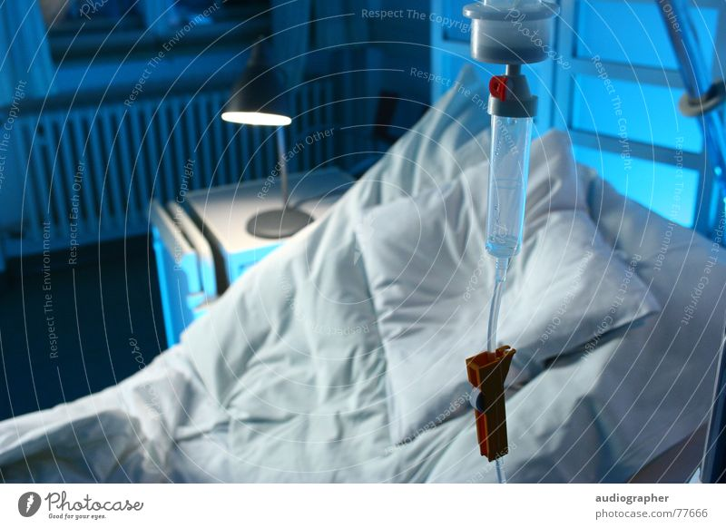flown out Cold Loneliness Empty White Bed Hospital Illness Drip Health care Medication Grief Room Bright Blue Drops of water infusion Interior shot
