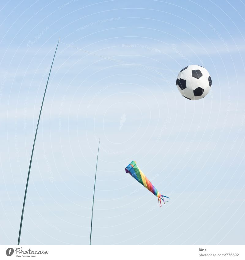 kickoff Joy Playing Vacation & Travel Tourism Summer Summer vacation Beach Ball Sky Flying Wind chime Exterior shot Deserted Copy Space top