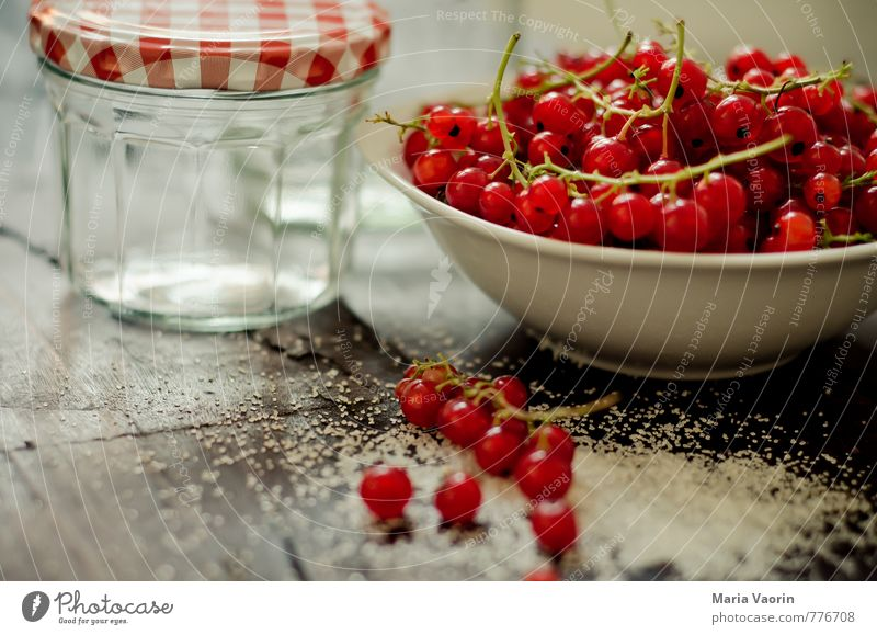 Preparation 2 Food Fruit Nutrition Bowl Fresh Delicious Sweet Red Berries Redcurrant Jam jar Sugar jam sugar Juicy Gelatin Wooden table Colour photo