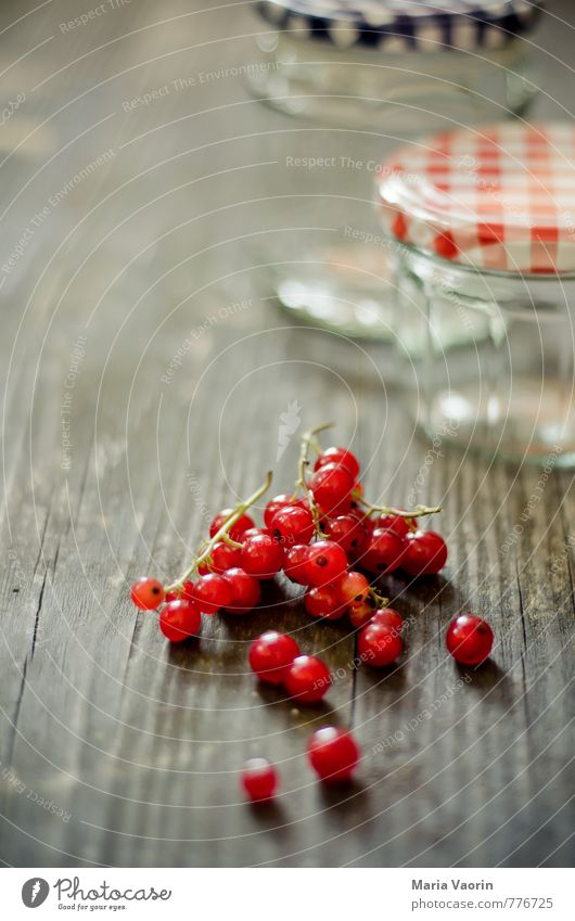 Preparation 3 Food Fruit Jam Nutrition Fresh Delicious Juicy Sweet Red Berries Redcurrant Jam jar Preserving jar Wooden table Colour photo Interior shot