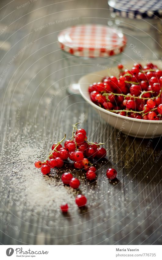 preparation Food Fruit Jam Nutrition Breakfast Bowl Healthy Juicy Sweet Red Redcurrant Berries Jam jar screwed glass jam sugar Sugar Wooden table Self-made