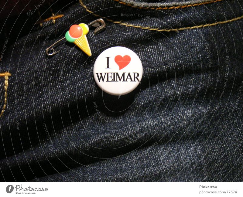 Weimar is an independent city Safety pin Ice-cream cone Name badge Stitching Trouser pocket Thuringia Home country Jeans Love Structures and shapes Heart