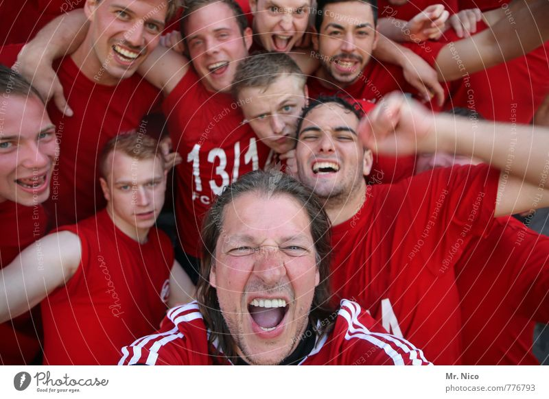 Red Joy Face Emotions Laughter Happy Exceptional Feasts & Celebrations Group Masculine Lifestyle Power Contentment Success Authentic Crazy