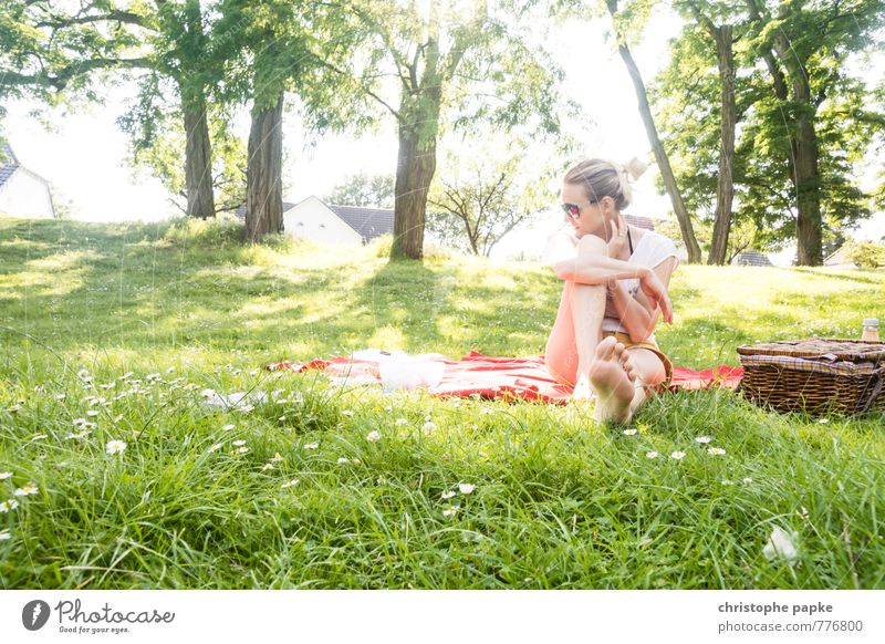 Human being Woman Youth (Young adults) Vacation & Travel City Summer Tree Young woman Relaxation 18 - 30 years Adults Warmth Meadow Feminine Spring Grass