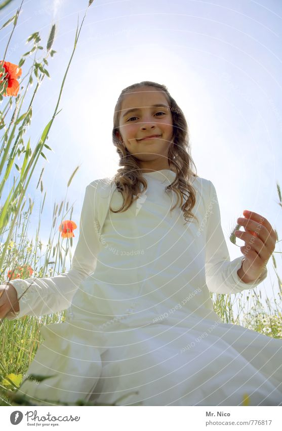 Human being Child Nature Beautiful Plant White Summer Flower Girl Environment Meadow Feminine Grass Natural Happy Garden