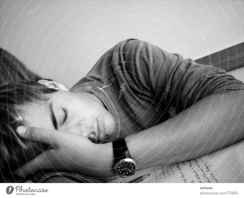 school sleep Time Clock Sleep Biology Hand Wall (building) Dream Afternoon Pen Sweater Shoulder White Black Text Snapshot Thought Calm School Boredom Magazine