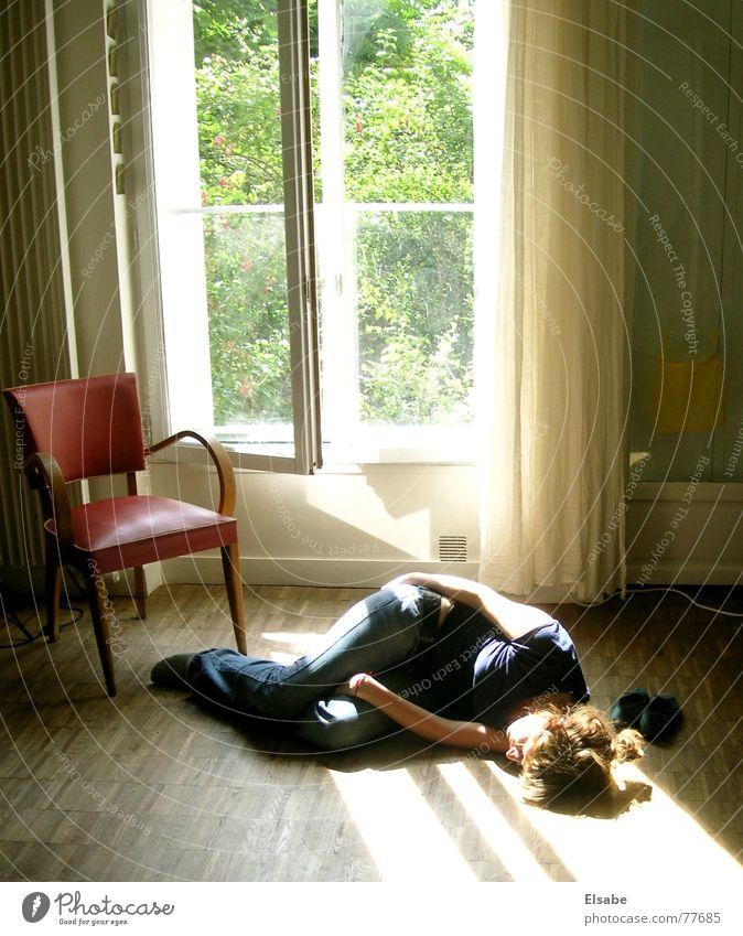 Woman Sun Summer Window Freedom Dream Sleep Chair Floor covering Lie Paris To enjoy Cozy Parquet floor Afternoon Siesta