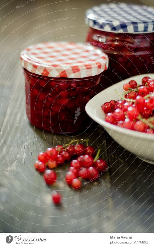 Make some jam Maria 3 Food Fruit Jam Nutrition Breakfast Bowl Juicy Sweet Red Redcurrant Berries Jam jar Preserving jar Wooden table Self-made Colour photo