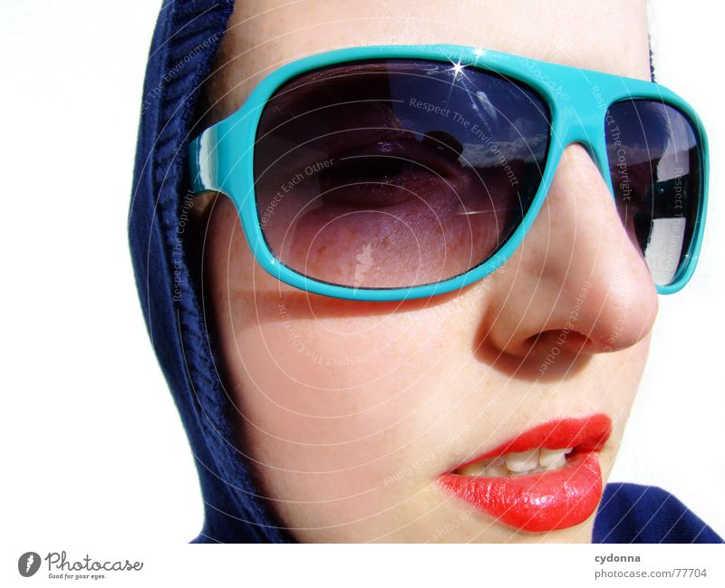 Sunglasses everywhere XX Lips Lipstick Light Style Row Woman Portrait photograph Glittering Cosmetics Gesture Clothing Summer Skin session Human being Face