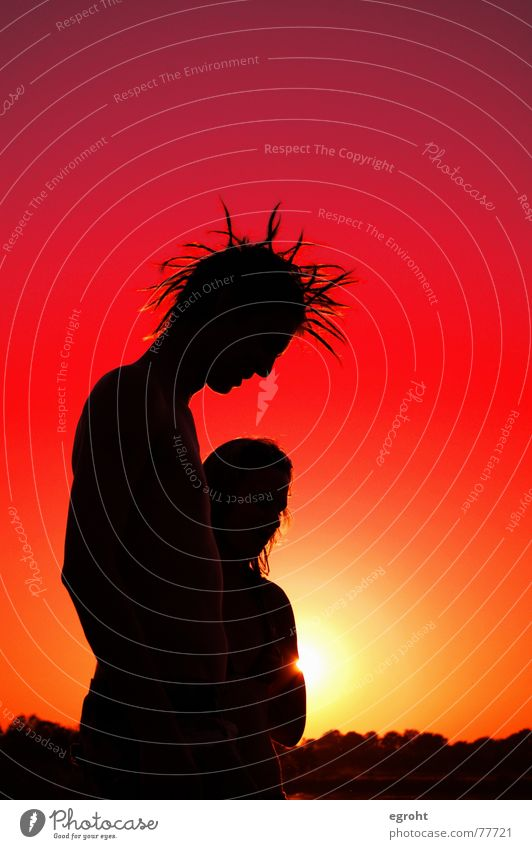 Sunset at the lake Red Yellow Lake Lake Baggersee Youth (Young adults) Punk Dreadlocks Romance Silhouette Dream Summer Caresses Exterior shot Sky female Love