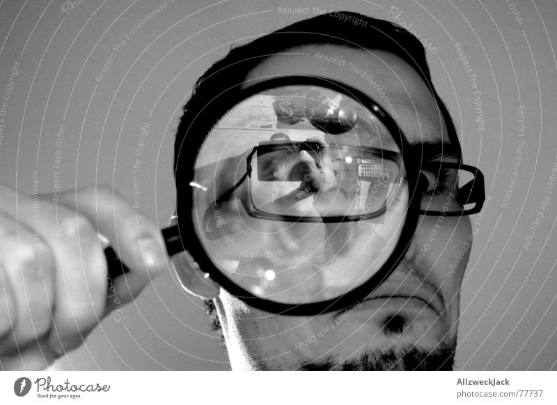 search picture Investigate Search Black Anger Evil Eyeglasses Self portrait Interior shot Looking Magnifying glass beetle perspective Desk Black & white photo