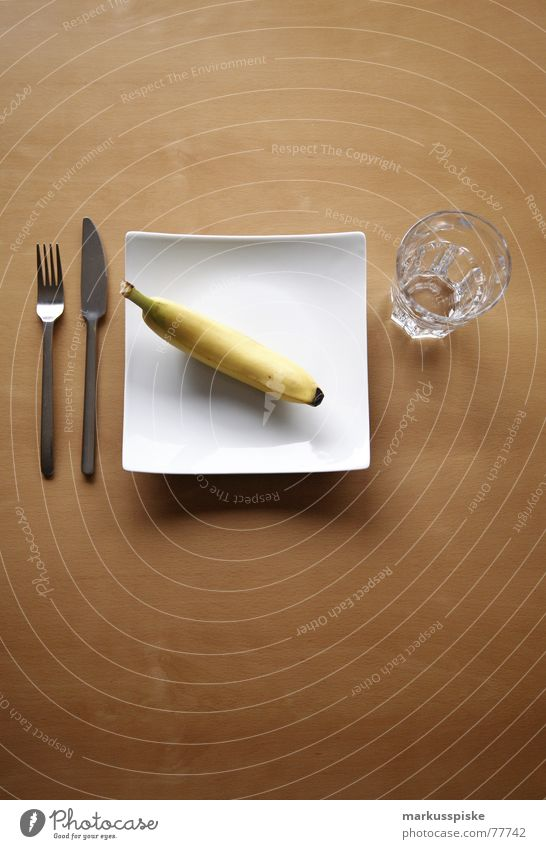 vitamins Nutrition Beech tree Wood Plate Spoon Empty Appetite Set meal Clean White Food Vitamin Yellow Banana Healthy Glass Wait Signs and labeling Dull Metal