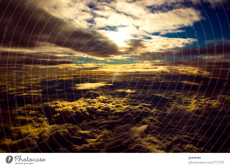 Sky White Sun Blue Clouds Air Airplane Flying Horizon Vantage point Cloud cover