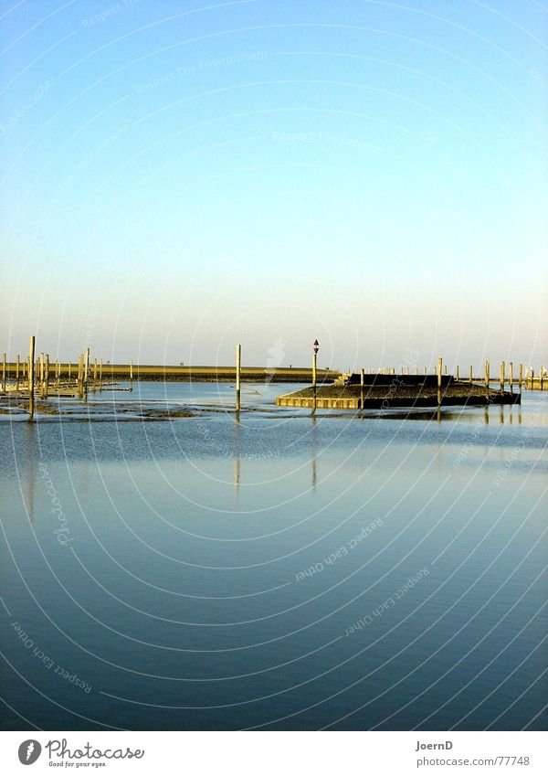 I_Sea_Blue Ocean Flat Calm Cold Deep Coast Harbour Jetty Dike Break water East Frisland Loneliness Simple Exterior shot Landscape Smoothness Clarity Water Sky