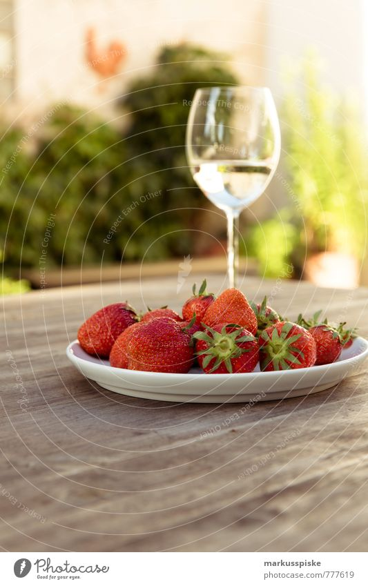sparkling wine with strawberries Food Fruit Strawberry Nutrition Beverage Cold drink Sparkling wine Prosecco Plate Lifestyle Luxury Elegant Style Design Joy