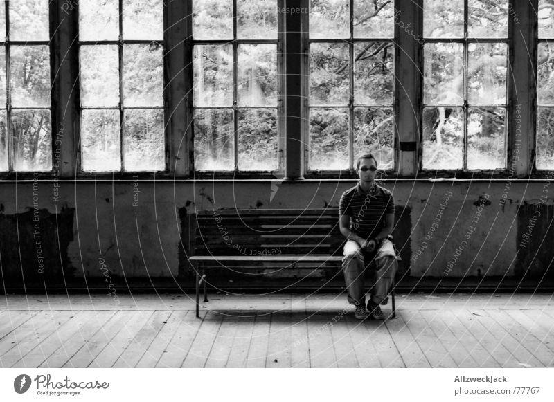 Loneliness Window Bright Sit Wait Bench Watchfulness Boredom Warehouse Sunglasses Self portrait Parquet floor Endurance Direct Patient Right