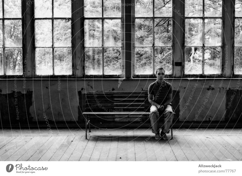 Loneliness Window Bright Sit Wait Bench Watchfulness Boredom Warehouse Sunglasses Self portrait Parquet floor Endurance Direct Patient Right