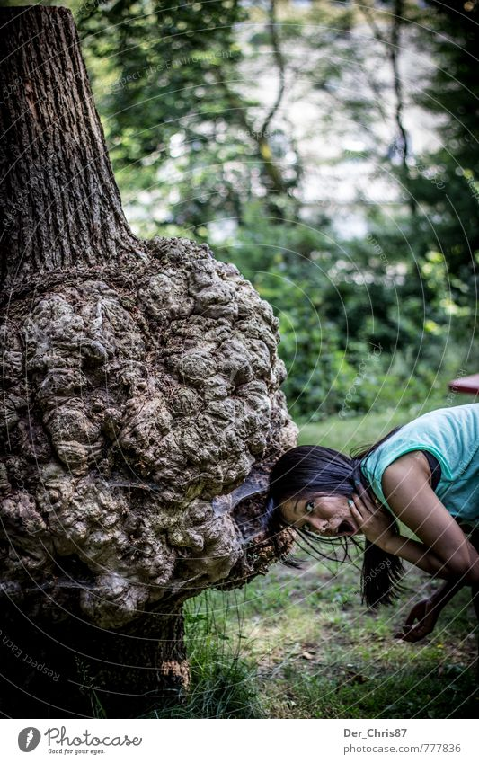 Tree eats girl Feminine Young woman Youth (Young adults) 1 Human being 18 - 30 years Adults To feed Old Exceptional Threat Dark Creepy Delicious Concern Fear