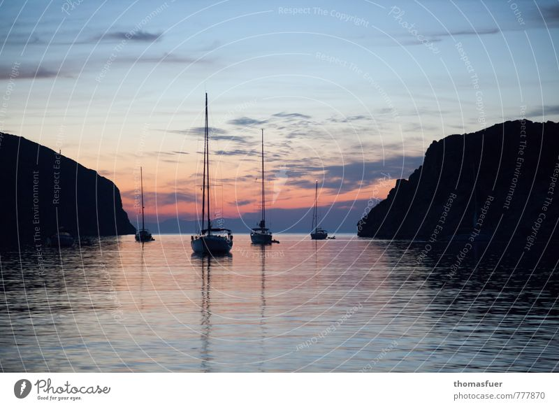 sailboats, bay, sunset, cliffs Vacation & Travel Tourism Trip Far-off places Freedom Cruise Summer Summer vacation Sun Beach Ocean Island Waves Exceptional Calm