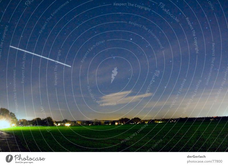 Shooting stars fake Speckhorn Multicoloured Clouds Supple Field Glittering Incandescent Meteor Visual spectacle Exterior shot Long exposure Landscape Tripod