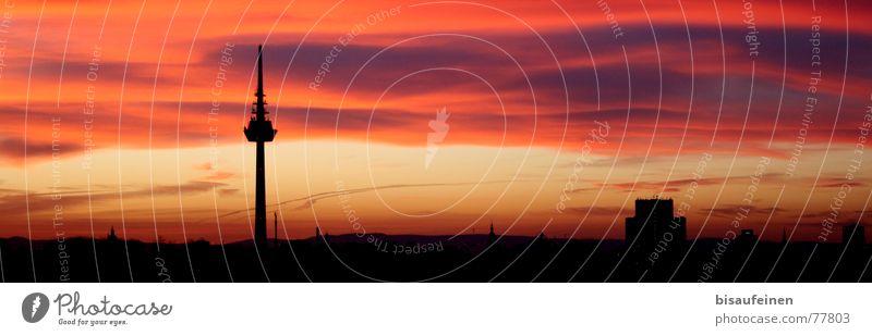 Sky City Berlin Clouds Yellow Pink Tower Kitsch Skyline Berlin TV Tower Mannheim Sunset