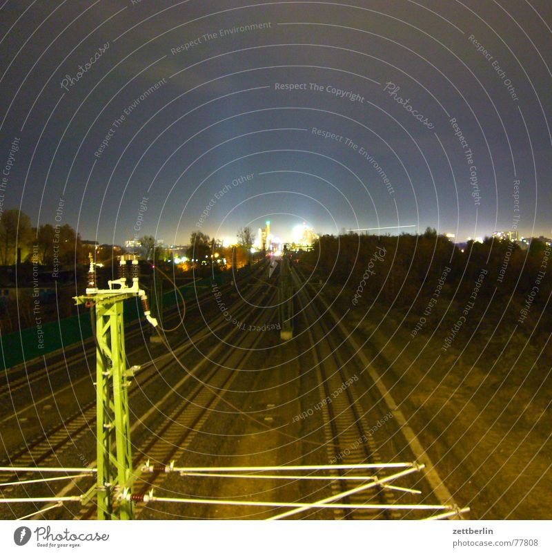 Potsdamer Square Night Long exposure Railroad tracks Provision Potsdamer Platz Railroad track maintenance Construction site Public transit Light UFO Radiation