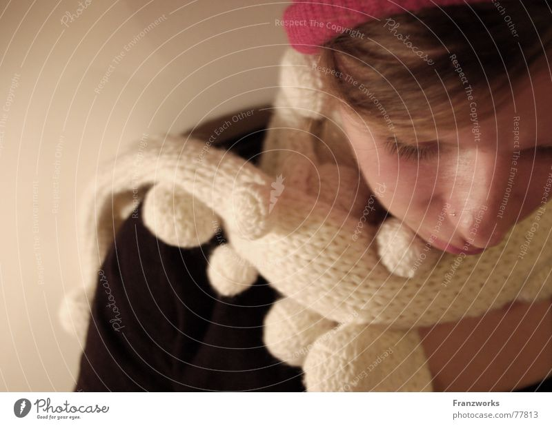 wool-puffy Scarf Cozy Cuddly Physics Winter Cap Packaged To have a coffee Think Woman Warmth tea break look down Sadness