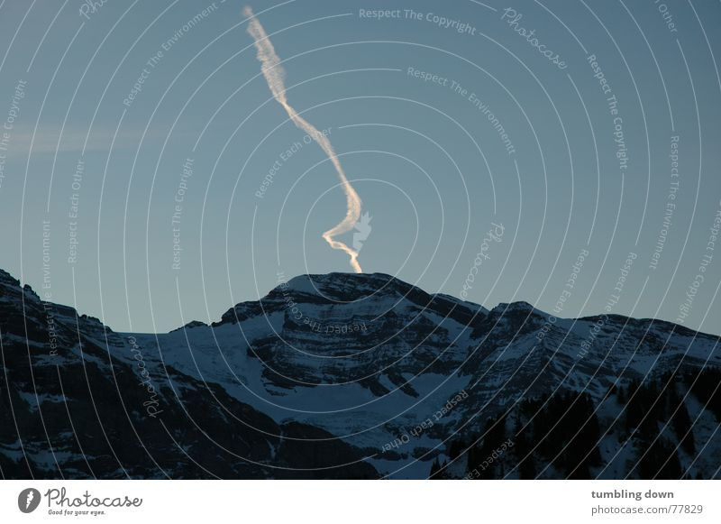 Line into the sky Dark Switzerland Curved Airplane Symbols and metaphors Exterior shot Long exposure Mountain Characteristic Snow porte du soleil Sky Clarity