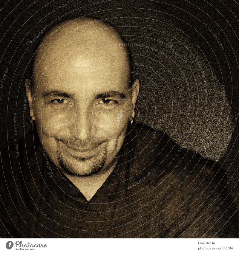 DJ Skull Bald or shaved head Portrait photograph Man Human being