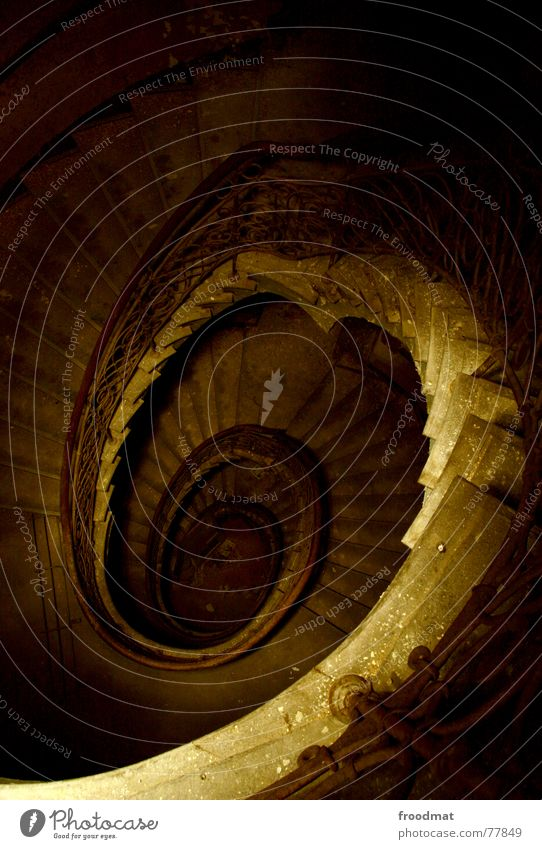 spiral staircase Spiral Long exposure Flashlight Night Creepy Ghosts & Spectres  Derelict Mysterious Brown Dark Painted Swing Curved Ambiguous Ghostly Eerie