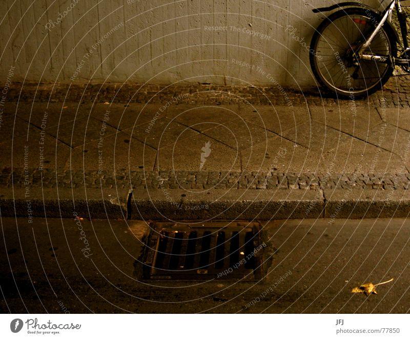 sidewalk Sidewalk Autumn Bicycle Gully Curbside Wheel Guard Leaf Town Concrete Gloomy aghast Sepia