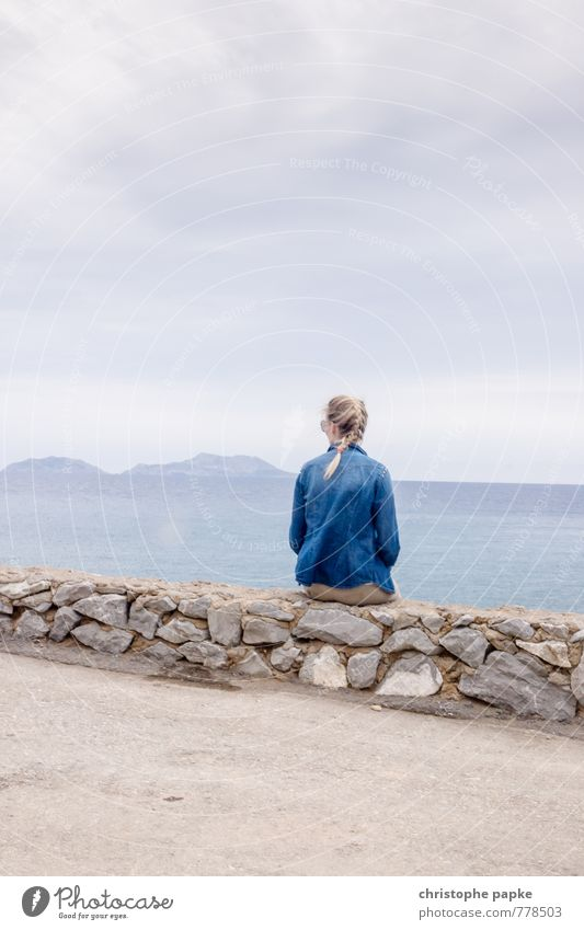 Day at the sea in grey-blue Contentment Relaxation Calm Vacation & Travel Far-off places Freedom Summer Summer vacation Ocean Island Feminine Young woman