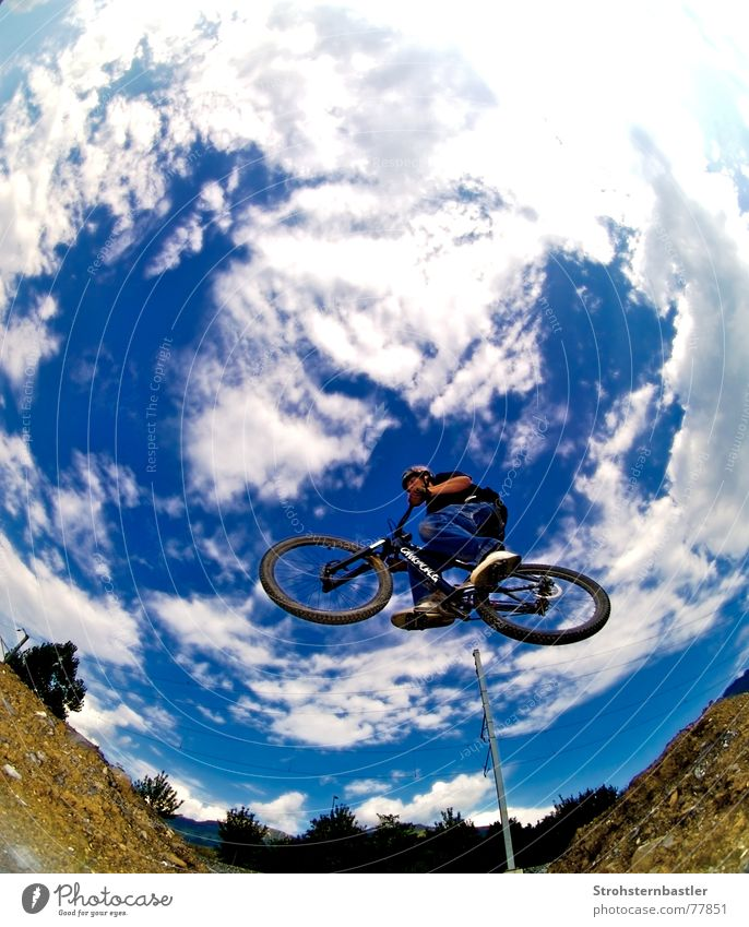 touchthesky Jump Clouds Brown Bicycle Accident Footwear Tree Grass Light blue Sky blue Cool (slang) dirt Blue Death