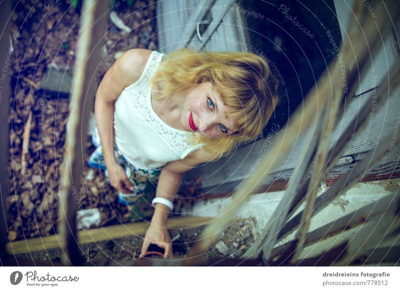 Human being Youth (Young adults) Young woman Dark Feminine Natural Door Blonde Stand Touch Broken Transience Retro Uniqueness Curiosity Mysterious