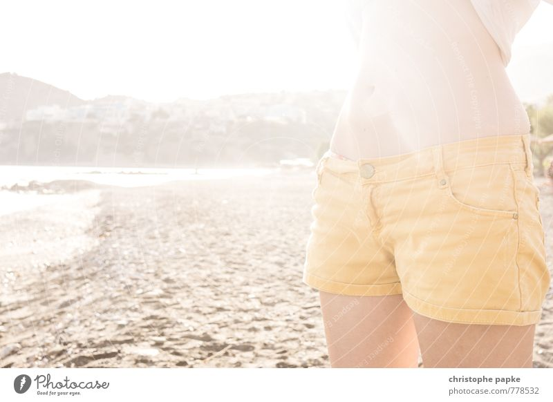 Hip teens don't wear blue jeans Elegant Style Vacation & Travel Summer Summer vacation Sun Sunbathing Beach Feminine Stomach 1 Human being Coast Bay Ocean