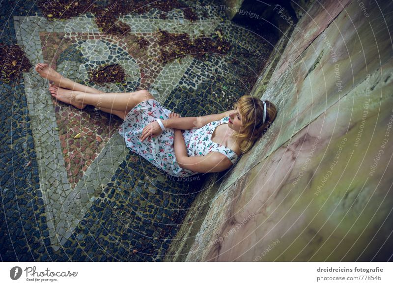 A cool place in the summer Feminine Woman Adults 1 Human being Dress Bangle Hairband Barefoot Blonde Long-haired Stone Think To enjoy Looking Sit Dream Sadness