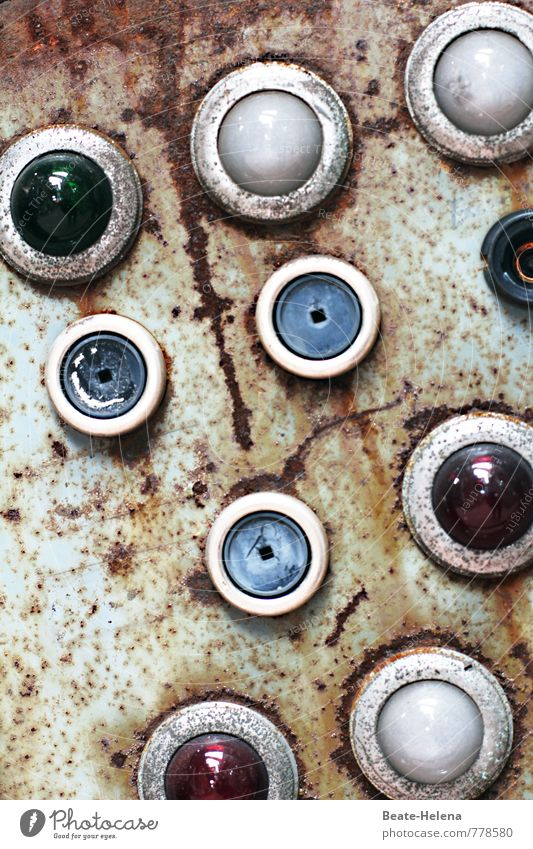 watching you Industry Keyboard Old Blue Green Red Testing & Control Control device Control desk Switch Warning light Rust Control center Industrial plant