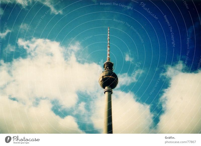 Sky Clouds Berlin Monument Landmark Antenna Berlin TV Tower Famousness Vignetting
