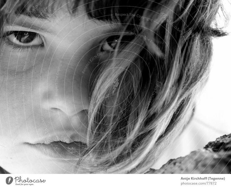 I´m so bad Girl Child Evil Black White Grief Portrait photograph Cute Sweet Anger Sadness Brash Wild animal Schoolchild
