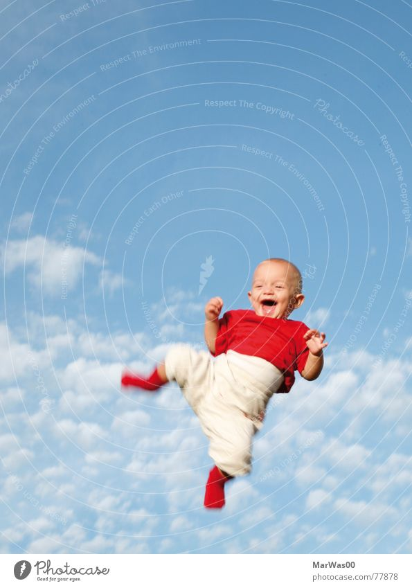 You make me smile Baby Toddler Child Happiness Grinning Red White Jump Air Clouds Light Laughter laugh children Blue Throw Tall Sky