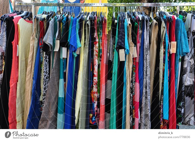 clothes for sale at street market - a Royalty Free Stock ...