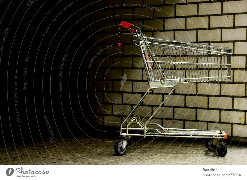 Loneliness Wall (building) Stone Wall (barrier) Metal Empty Floor covering Logistics Store premises Parking Grating Coil Supermarket Shopping Trolley Push Month