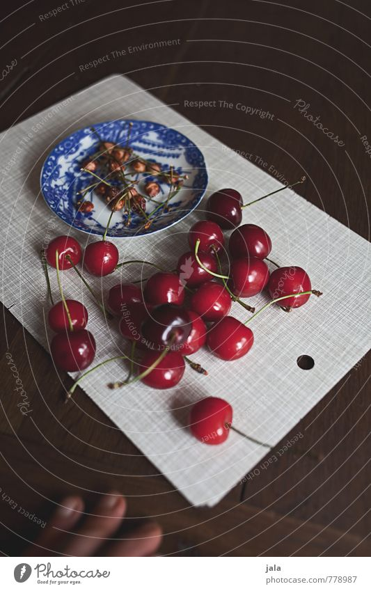 cherries Food Fruit Cherry Cherry pit Stalk Nutrition Organic produce Vegetarian diet Finger food Plate Chopping board Fingers Fresh Healthy Delicious Natural